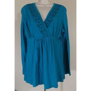 Blue Beaded Neck Tunic Top Size 16/18